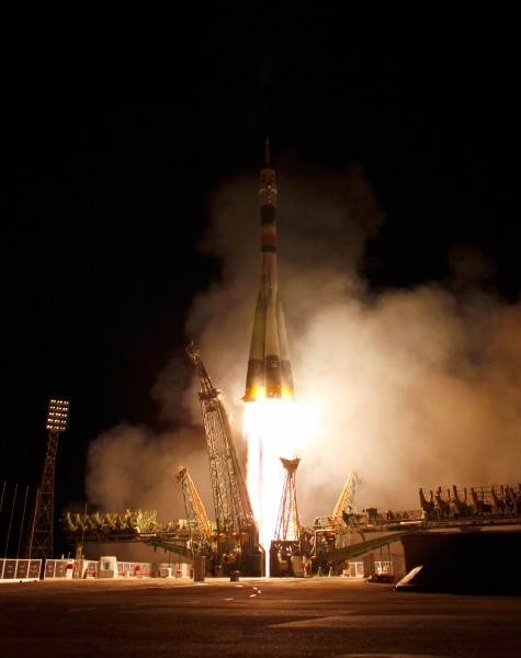 Soyuz TMA-21 launches from the Baikonur Cosmodrome