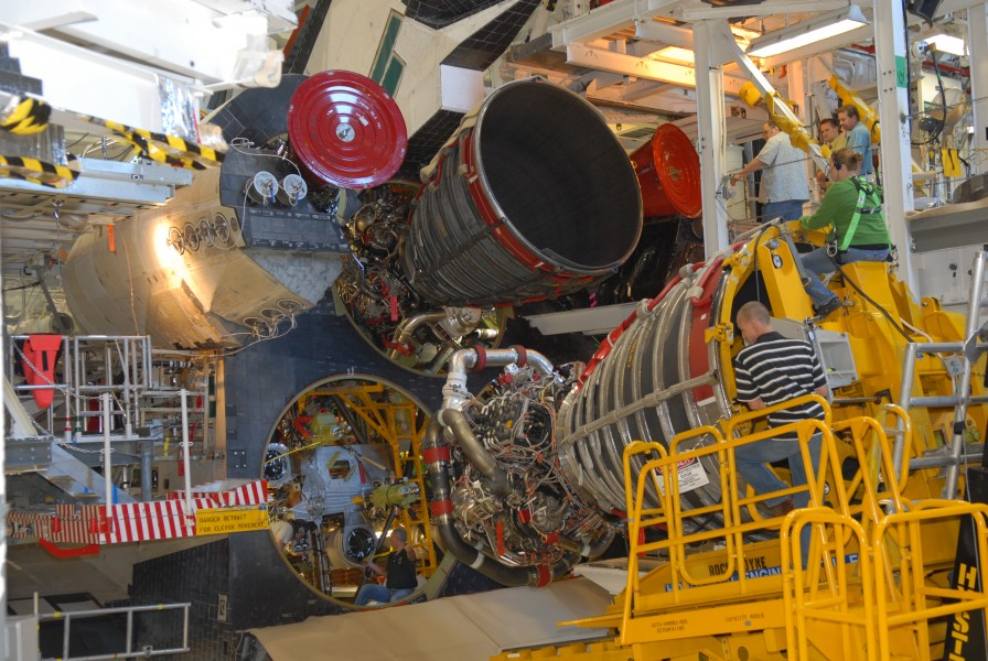 STS-130 Endeavour main engine installation