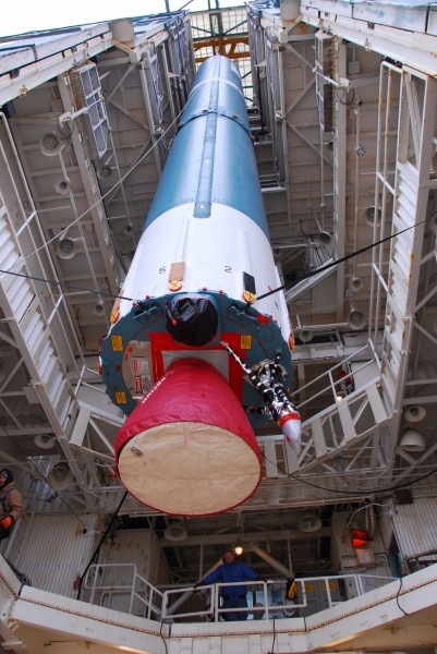 The first stage of a Delta II 7320-10C is raised at SLC-2W for Aquarius SAC-D launch