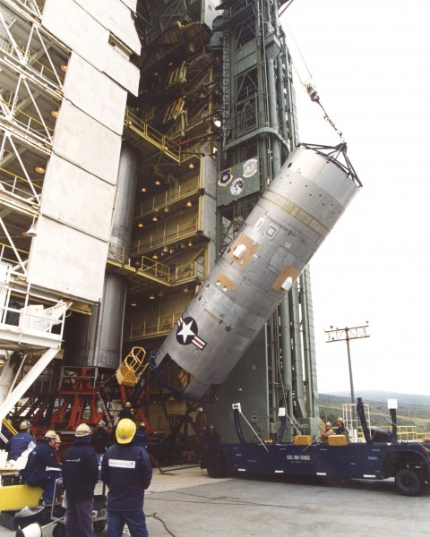 Titan 23G second stage is lifted to vertical