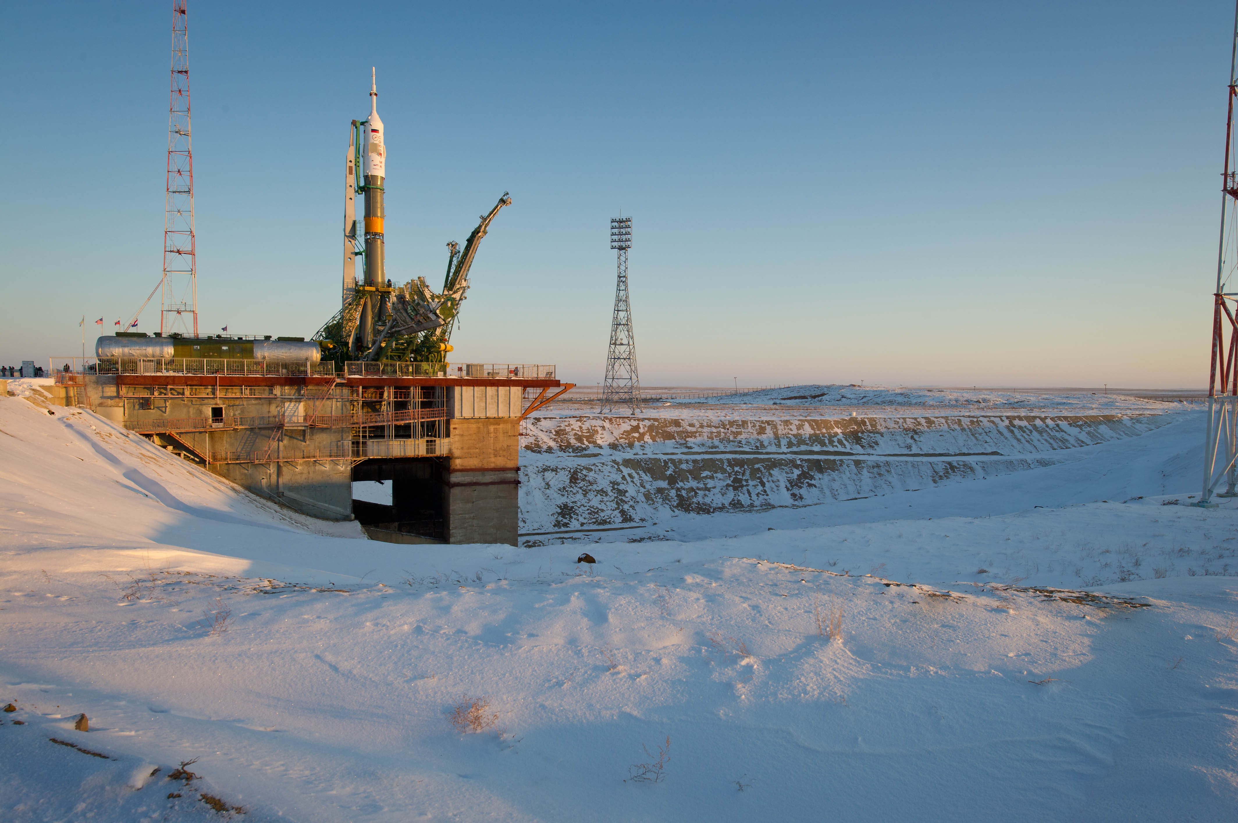 Soyuz TMA-03M rocket at the launch pad