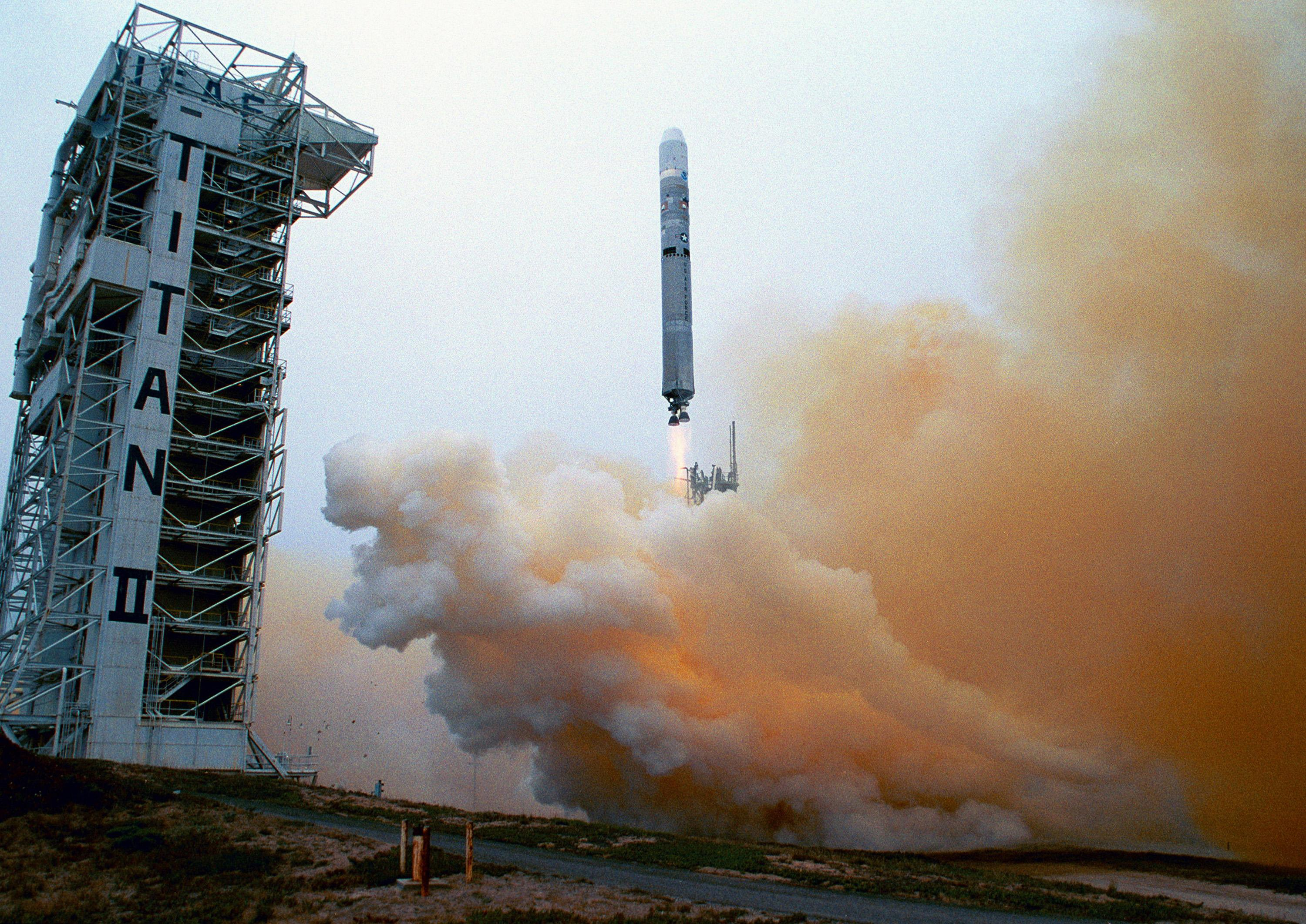Titan 23G rocket hurtles above the launch tower