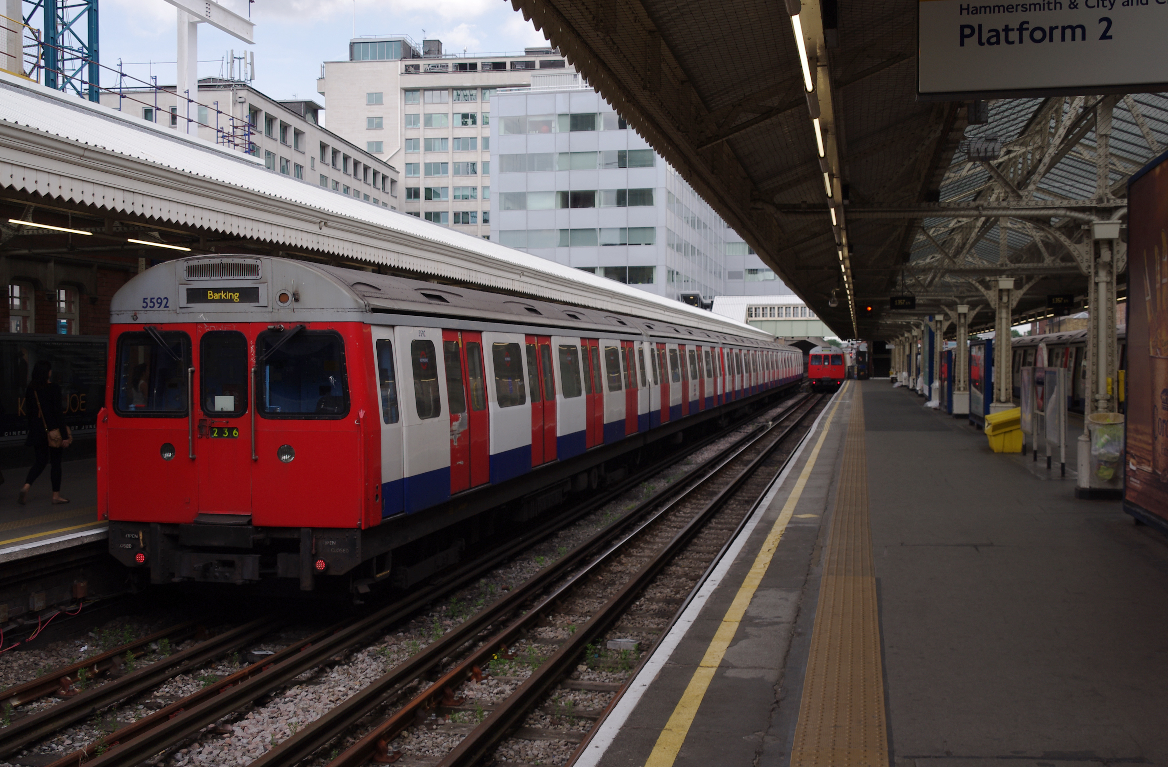 Hammersmith tube station (Circle and Hammersmith & City lines) MMB 01 C-Stock