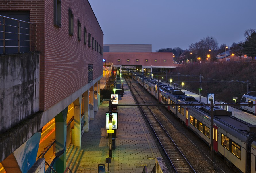 Louvain-la-Neuve train station track 1 during civil twilight (Belgium, DSCF4228)