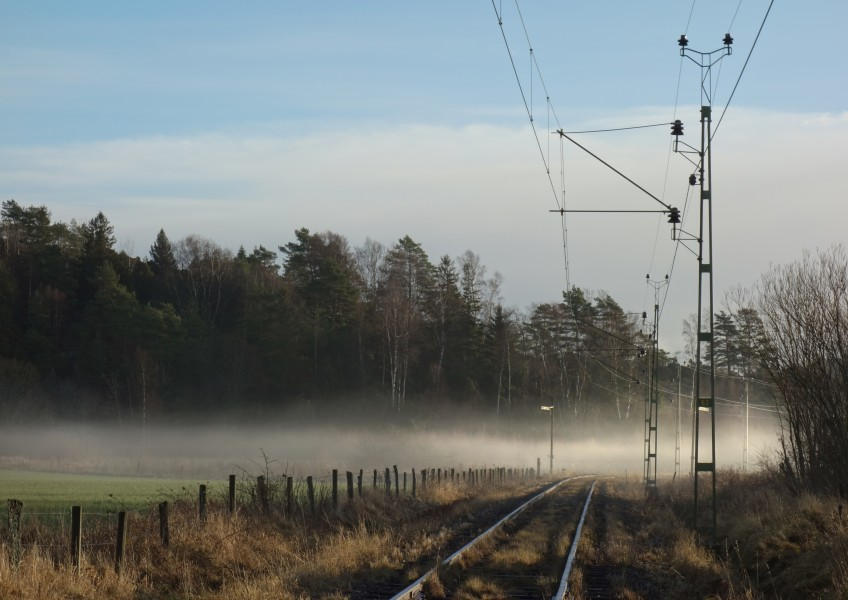 Sunlit fog across railway tracks