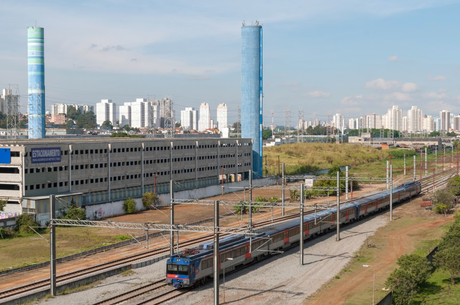 Tamanduateí train station of Series 2100 Red CPTM, São Paulo, Brazil
