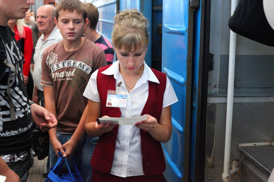 A train conductor girl at Lviv train station